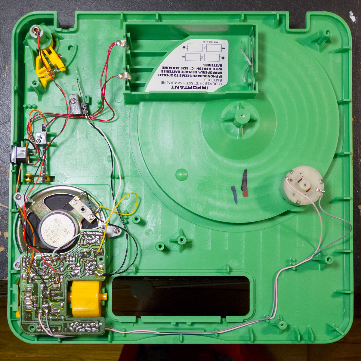 Fisher Price 816 Record Player Repair Zach Poff Electronic Circuit Board Field Service Inside Bottom